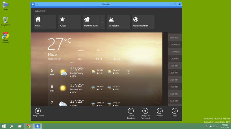 Windows 10 Apps in Window